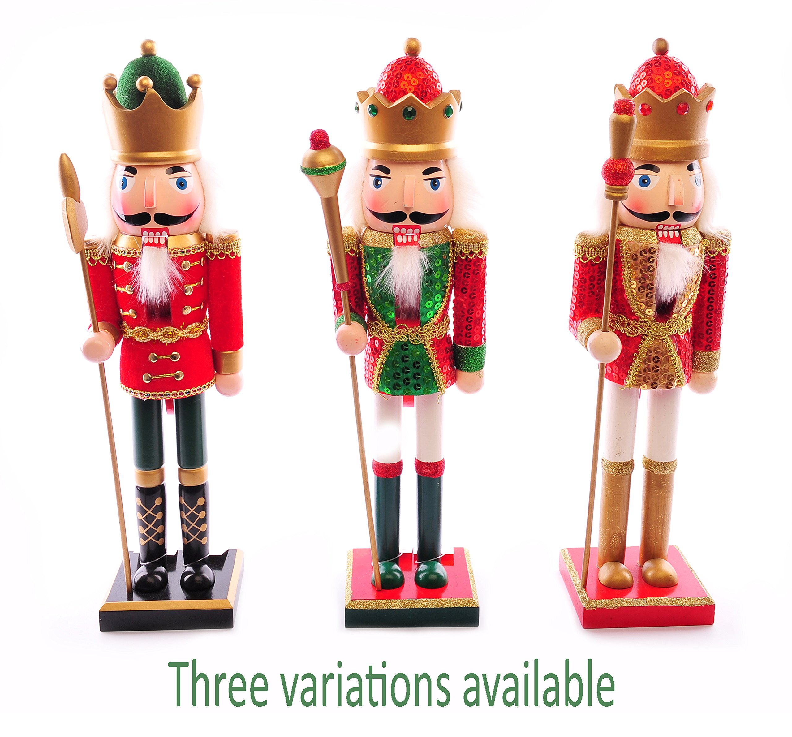 Christmas Nutcracker.Traditional Wooden Christmas Nutcracker Soldier Decoration Red Green Gold Christmas Sequin Detail 25cm