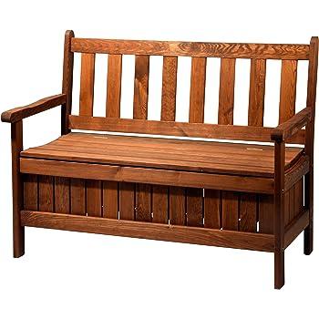 Dobar Gartenbank Massive Mit Lehne 2 Sitzer Aus FSC Holz, 115 X 58 X 89 Cm,  Braun