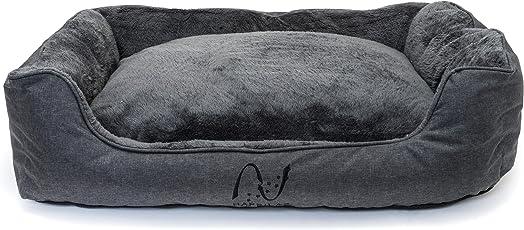 Happilax waschbares Hundebett mit wendbarem Plüsch-Kissen, Hundekörbchen für kleine und große Hunde