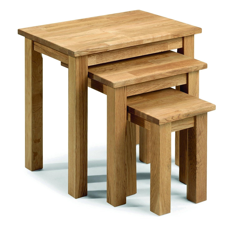 Julian Bowen Coxmoor Solid Oak Nest of Tables Oak Amazon