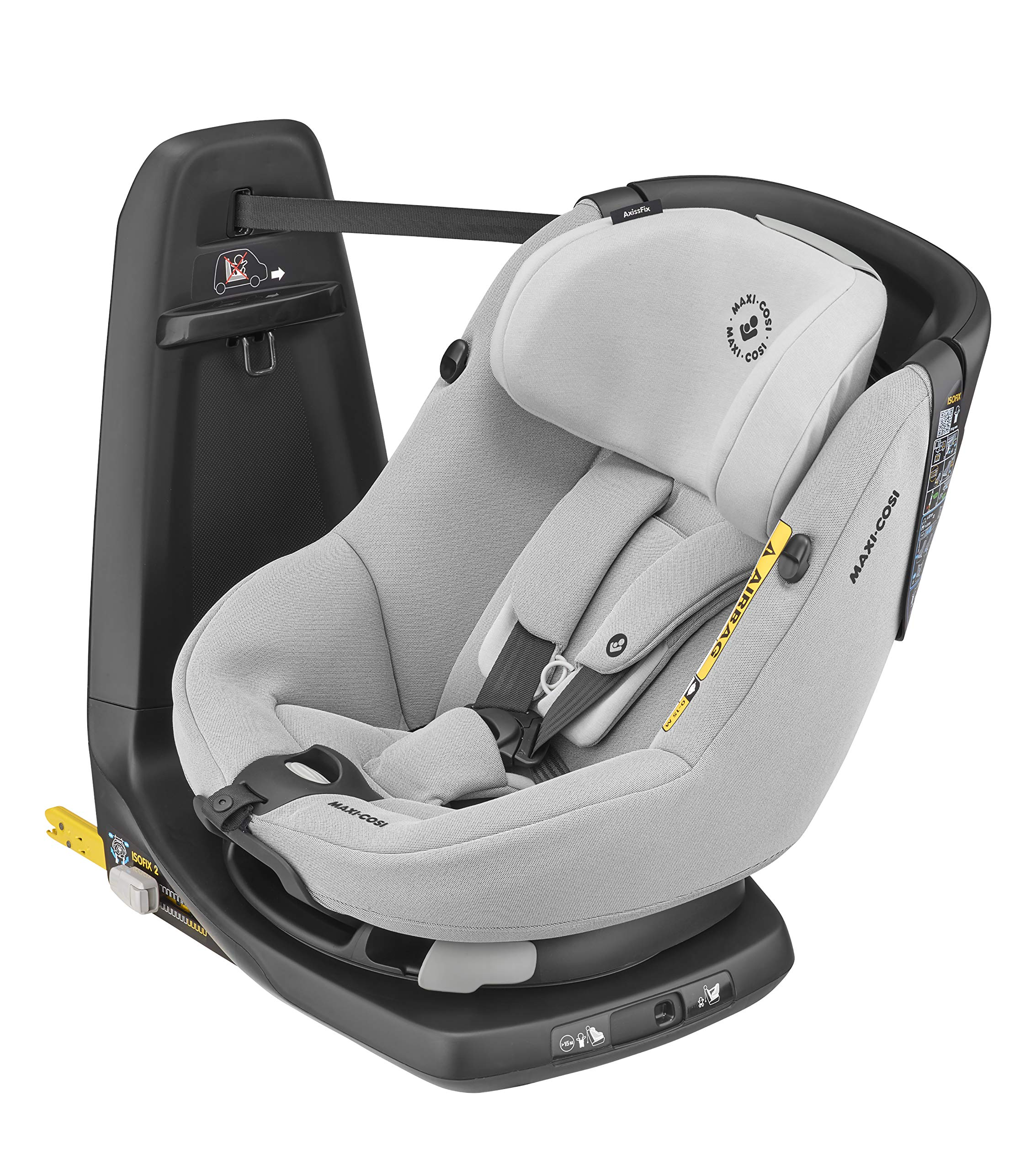 Maxi-Cosi Axissfix Toddler Car Seat, Swivel Car Seat, 4 Months - 4 Years, 61-105 cm, Authentic Grey Maxi-Cosi Toddler car seat, suitable from approx. 4 months up to 4 years (61 - 105 cm) 360° swivel car seat, to easily get your child in and out the seat I-size (r129) car seat legislation, due to extended rearward-facing travel and improved side impact protection 1