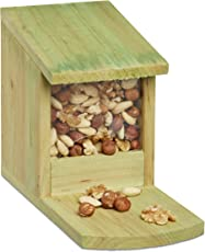 Relaxdays Eichhörnchen Futterhaus zum Stellen, Holz, Wetterfest, HBT: ca. 17,5 x 12 x 25 cm, grün