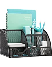 PINZO™ 7 Compartment Metal Mesh Desk Organizer with Drawer