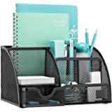 PINZO® 7 Compartment Metal Mesh Desk Organizer with Drawer