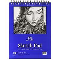 Bloc de dessin 100 feuilles à reliure spirale A4 22,9 x 30,5 cm - Papier blanc à grain moyen pour le dessin, croquis…