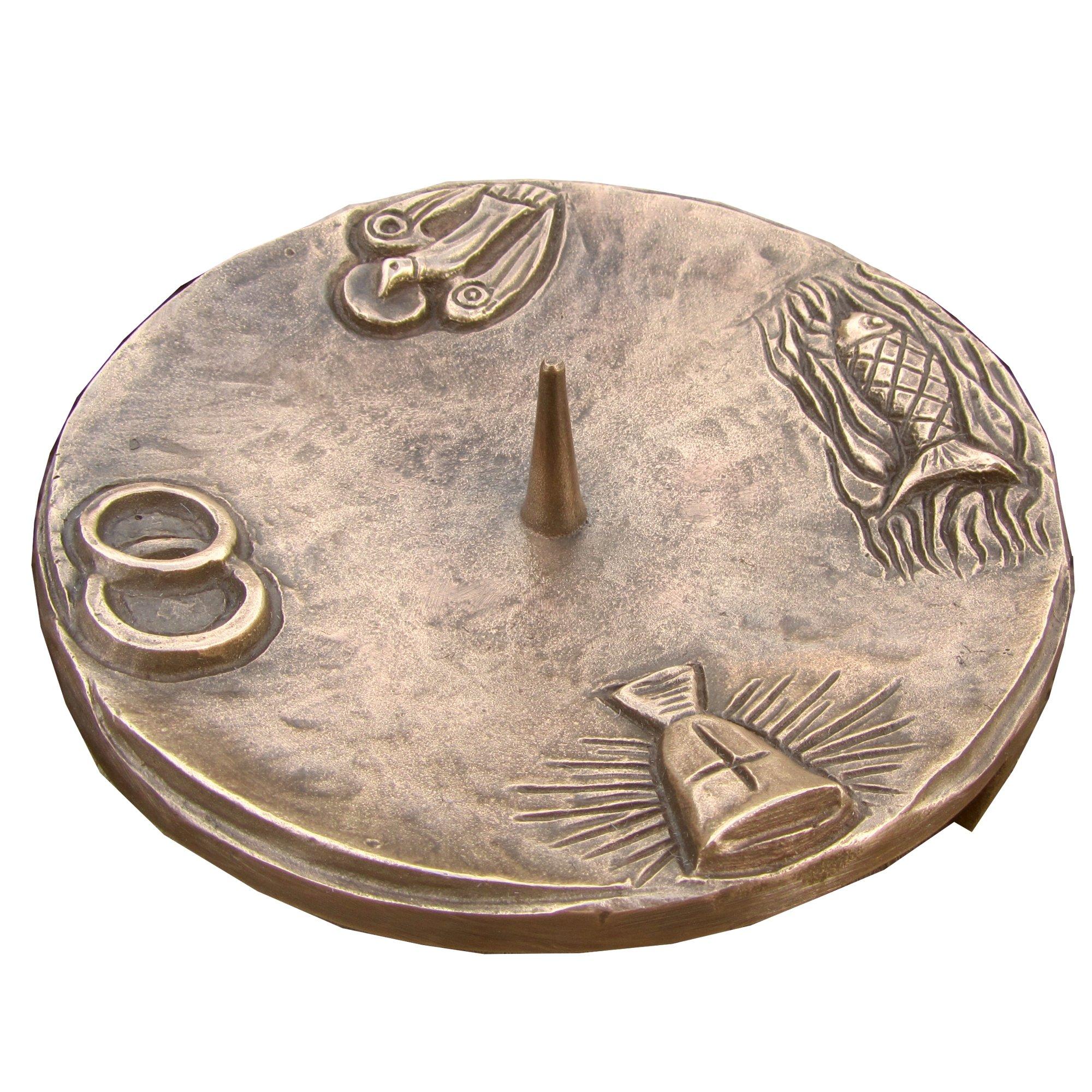 candelabro battesimo candeliere portacandela 15 cm 4 simbolo bronzo noblie patina marrone