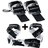Fitgriff® Wrist Wraps + Lifting Straps (Bundle) - Wrist Straps for Weightlifting, Gym, Crossfit, Strength Training, Fitness -