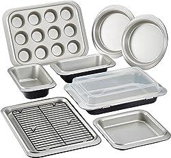 Anolon(r) Bakeware Two-Tone Steel Nonstick Bakeware Set, Onyx/Pewter, 10-Piece