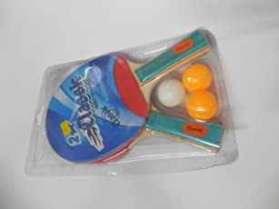 Classic Table Tennis Bats Pair Of Two With 3 Balls Pack