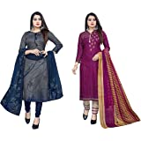 Hanoba Women's Leon Synthetic Unstitched Dress Material Combo Pack of 2 (GS1032_Magenta and Charcoal)