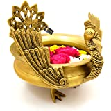 Two Moustaches Ethnic Winged Peacock Design Solid Brass Urli (Antique Yellow, Standard)