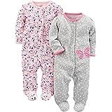 Simple Joys by Carter's Pieds en Coton à Boutons-Pression pour Dormir et Jouer Bébé Fille, Lot de 2