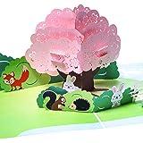 3D Grußkarte Schöne Landschaft mit Häschen, Igel, Eichhörnchen, Fuchs, 3D Pop up, Geburtskarte, Glückwunschkarte zur Geburt, Geburtstagskarte, Geschenkkarte