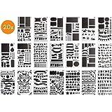 BLISSANY Sjablonenset - 20 stuks, tekensjablonen/sjablonen om te tekenen, voor Bullet Journal, scrapbooking/Scrapbook, DIY, v