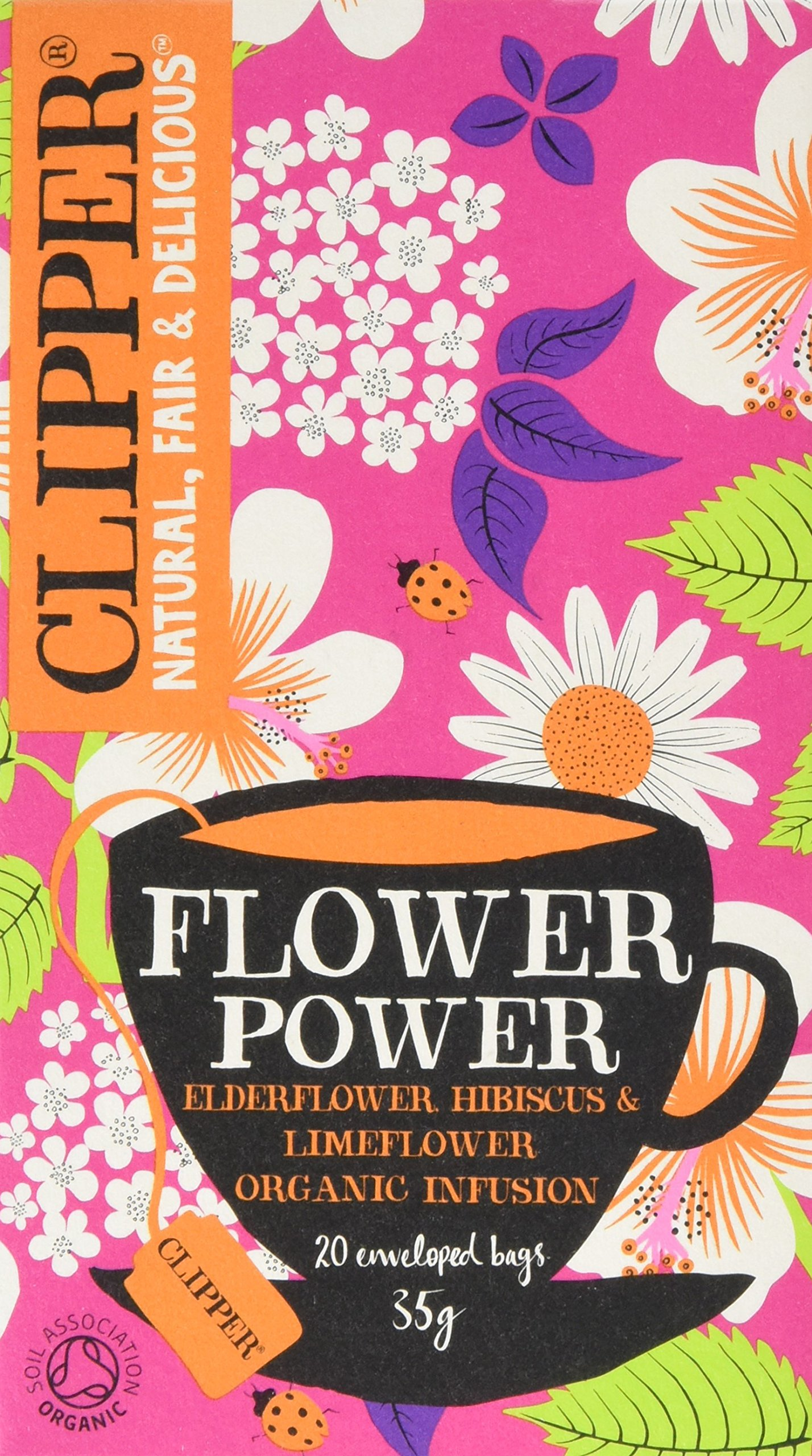 Clipper flower power tea bundle (soil association) (infusions) (flower power) (6 packs of 20 bags) (120 bags) (a floral tea with aromas of camomile, elderflower, hibiscus) (brews in 3-5 minutes)