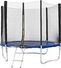 Arebos Outdoor Trampolin Komplettset ⌀ 244, 305, 366, 427 cm / Inklusive Sicherheitsnetz, Leiter, Sprungmatte, gepolsterten Netzpfosten und Randabdeckung / GS geprüft