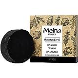 Meina Naturkosmetik - Schwarze bio Haarseife gegen Schuppen und fettiges Haar mit Aktivkohle, Vegan, Nachhaltig, Handgemacht,