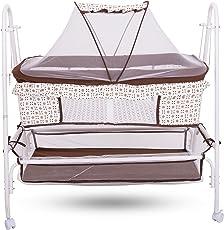 Baybee Comfort Cradle Cot - New Born Baby Swing Cradle with Mosquito Net & Wheel (Brown)