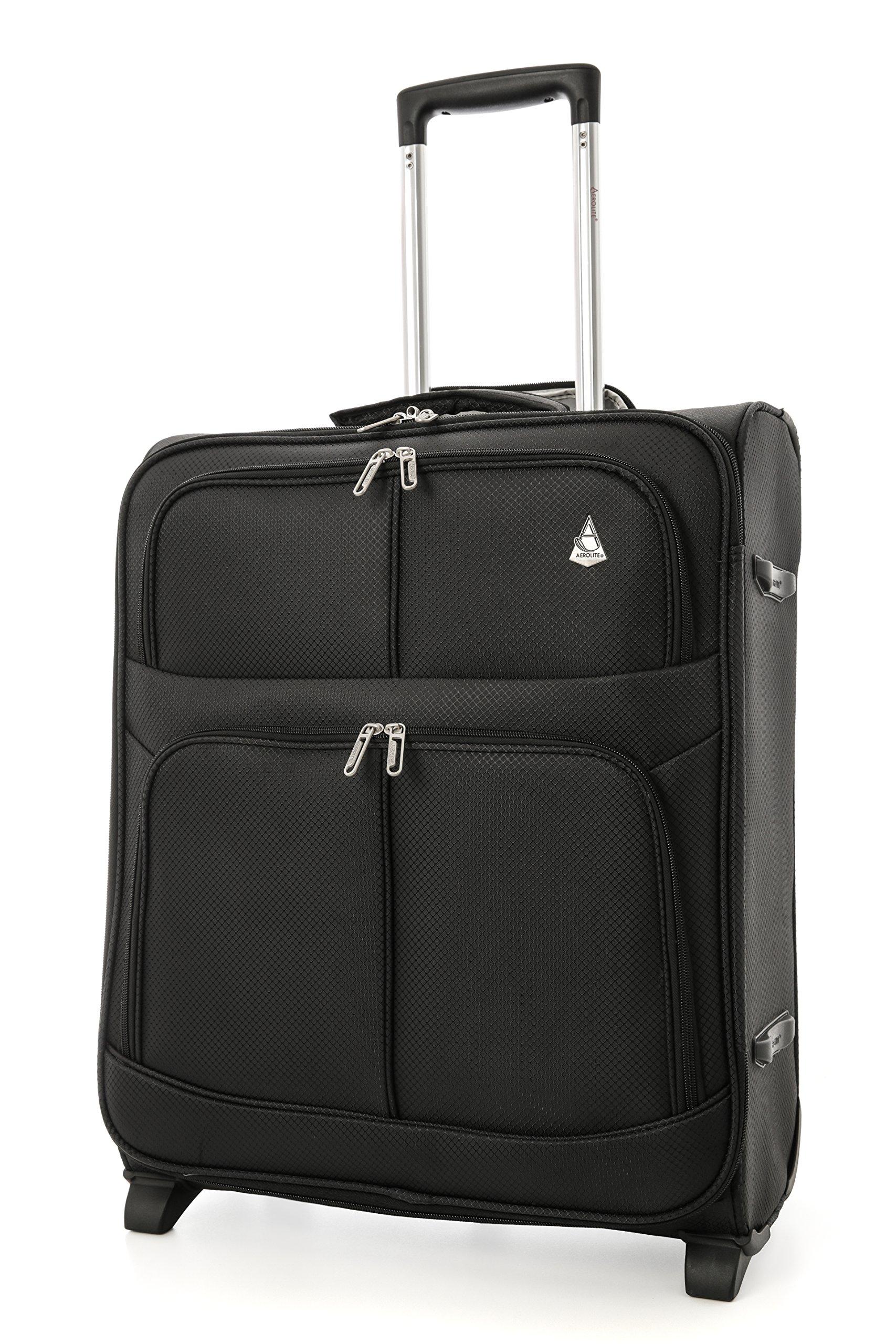 Aerolite-56x45x25-easyJetBritish-Airways-Jet2-Wizz-Air-Hchstbetrag-2-Rollen-60L-Leichtgewicht-Handgepck-Trolley-Koffer-Bordgepck-Kabinentrolley-Reisekoffer-Gepck-Schwarz