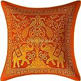 Stylo Culture Ethnique Brocart Indien Housse de Coussin Or Orange 30x30 cm l'éléphant Housse Coussin Canapé Jacquard Soie Déc