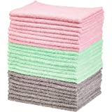 AmazonBasics - Green, Gray and Pink Microfiber Cleaning Cloth, 24-Pack