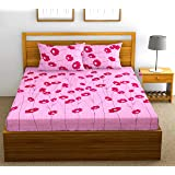Fab Theory Nakshatra 104 TC 100% Cotton Double Bedsheet with 2 Pillow Covers, Purple