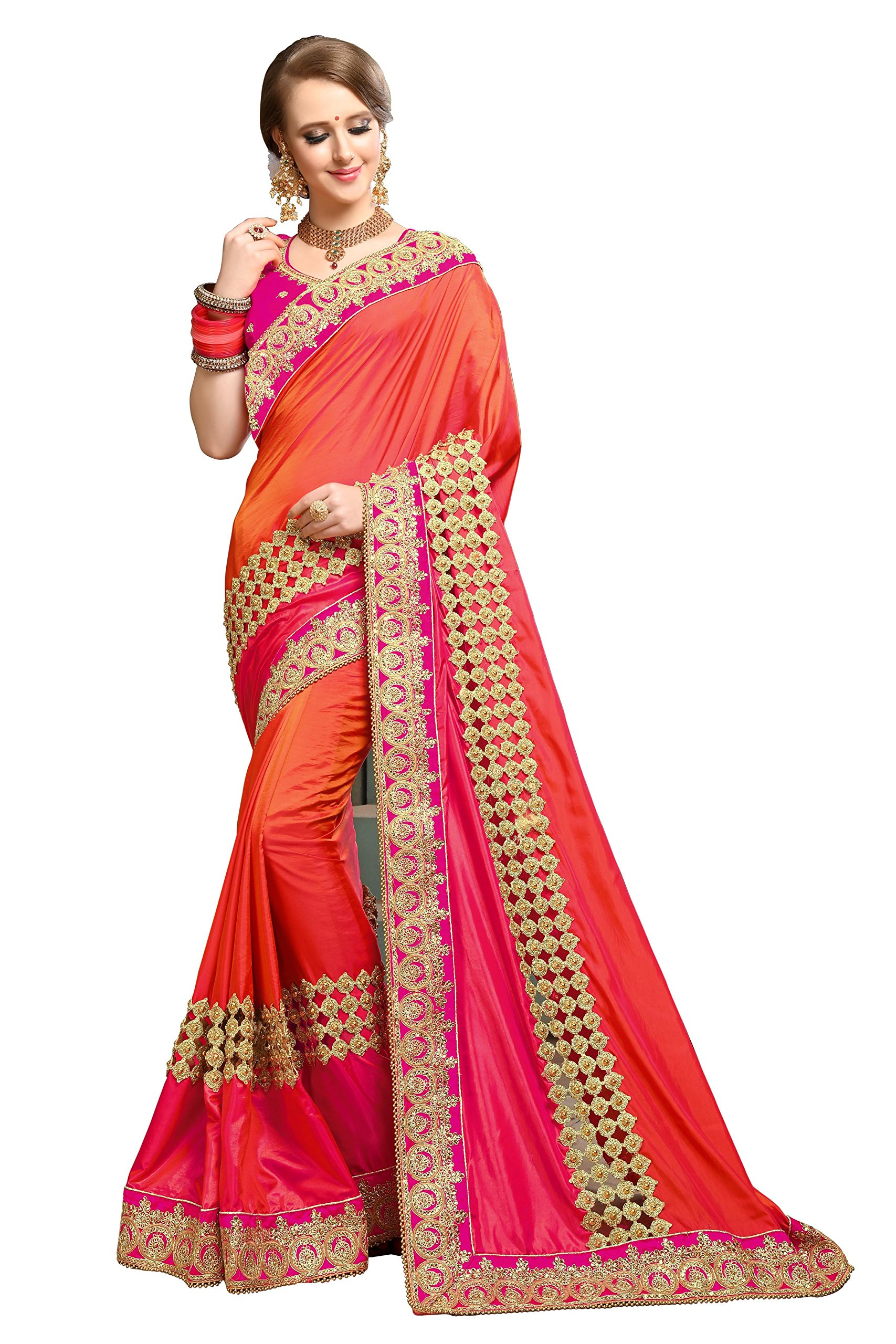 Magneitta Women's Paper Silk Saree With Blouse Piece