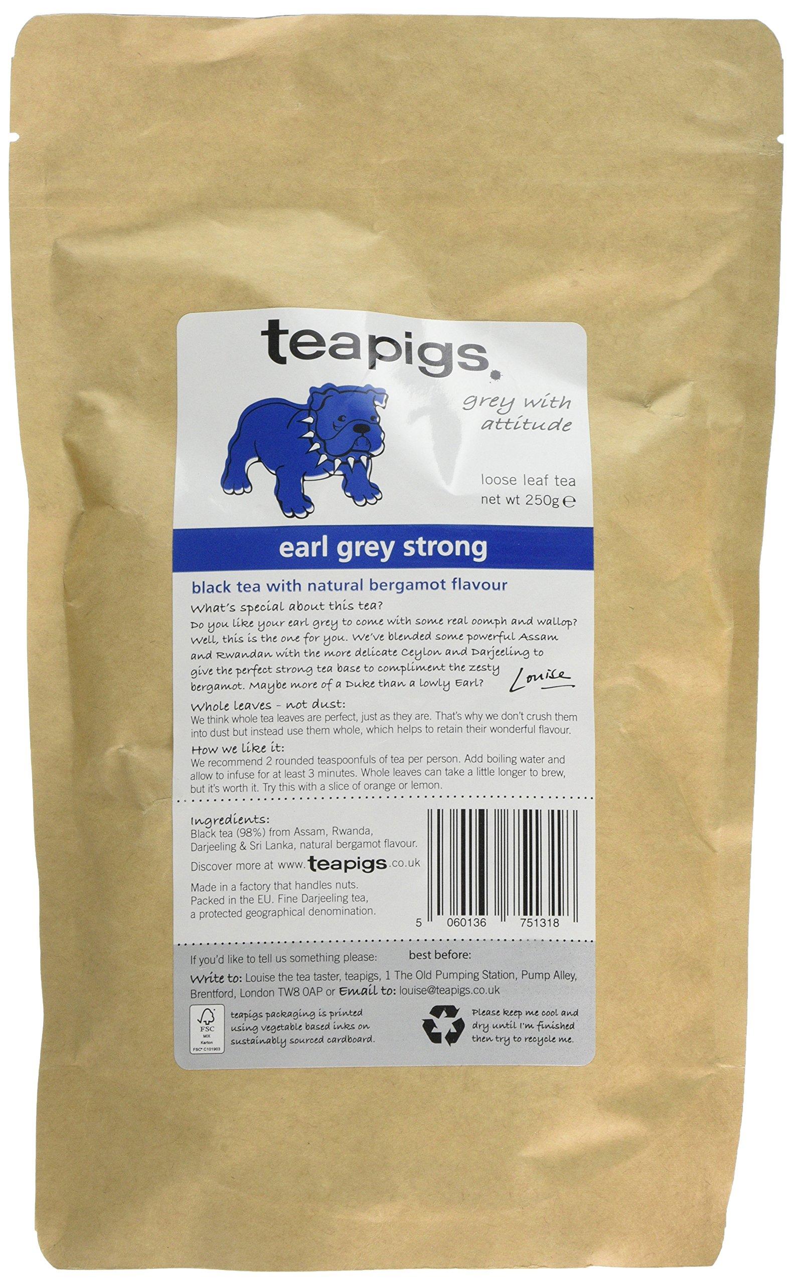 Teapigs earl grey strong tea (black tea) (earl grey) (250g) (a fruity tea with aromas of bergamot) (brews in 3 minutes)