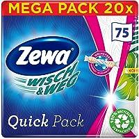 Zewa Wisch&Weg Quick Pack, Küchenrolle als praktische Einzeltücher, Mega Pack mit 20 Packungen (je 75 Tücher)