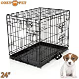 """COZY PET Dog Cage 24"""" Black Metal Tray Folding Puppy Crate Cat Carrier Dog Crate DC24B. (We do not ship to the Channel Islands or The Isles of Scilly.)"""