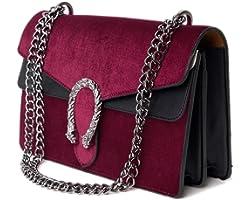 Course Damen Schultertasche Handtasche Samt mit Kette und Verzierung 29x17x9 cm