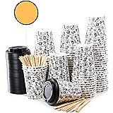 80 Vasos Desechables de Café para Llevar - Vasos Carton 360 ml 12 Onzas con Tapas y Agitadores de Madera para Servir el Café,