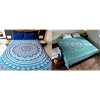 Laavie Peacock Wing Floral Mandala Twin Size Bed Sheet Combo with Pillow Cover Set Single Bed Divan bedcover Pair Beach…