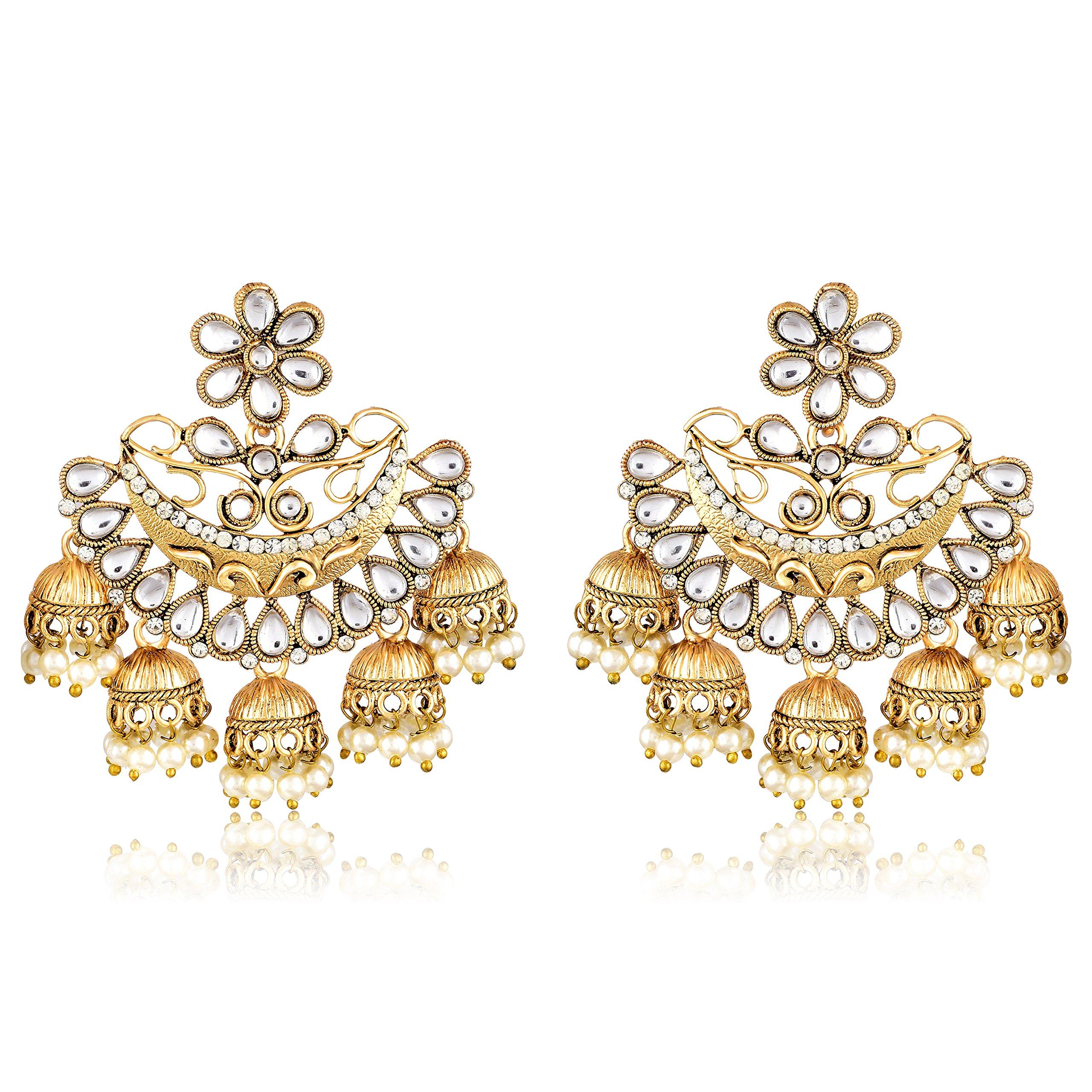265ba95e9 MEENAZ Gold Plated Chandbali White Pearl Kundan Jhumka Jhumki ...
