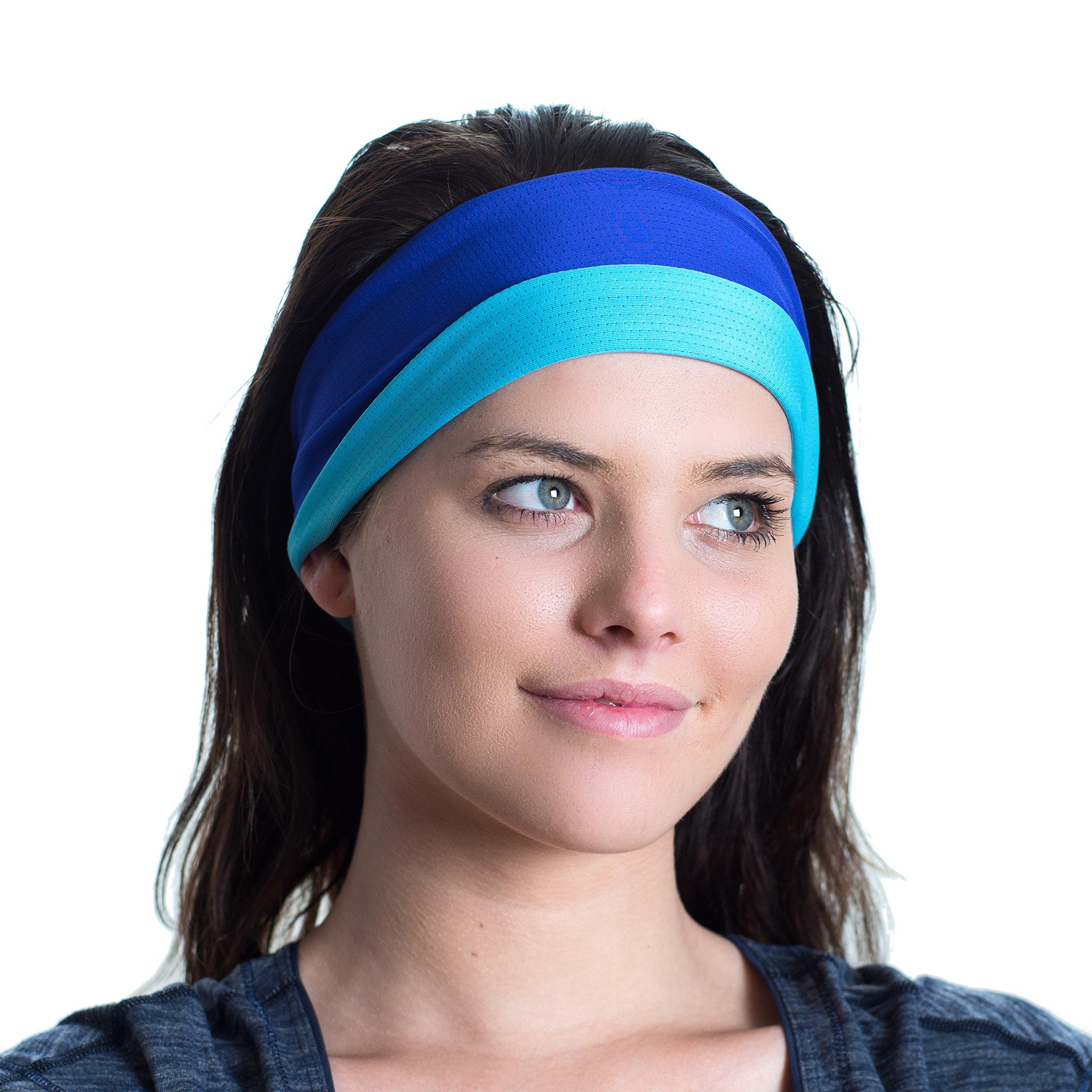 Sport-Stirnband, doppelseitig, feuchtigkeitsableitend, Rutschfest – Fitness-Schweißband – Ideal fürs Fitnesstraining, Joggen, Tennis, Sport, Yoga & mehr – perfekt für aktive Frauen