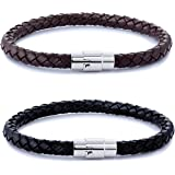 FIBO STEEL 2-3PCS Stainless Steel Braided Leather Bracelet for Men Women Wrist Cuff Bracelet 7.5-8.5 inches