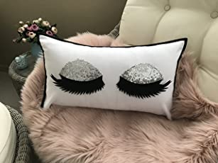 The Purple Tree Cute Sequin Eyelashes Pillow Cushion (12X18 Inches) - 1Pc (Silver) , Eyelashes Cushion, Girly Cushion, Gift For Girls,