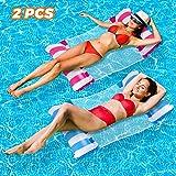 2 Pack Aufblasbare Hängematte Wasser Luftmatratze mit Netz Erwachsene 4 in 1 Mehrzweck Luftmatratze für Pool Wasserhängematte