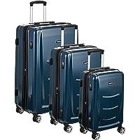 Amazon Basics Valise rigide à roulettes pivotantes, Lot de 3 valises (55 cm, 68 cm, 78 cm), Bleu marine