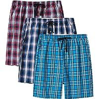 MoFiz Men's Cotton Pyjama Lounge Shorts Checked Button Fly Pyjama Bottoms