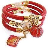 VENEZIA CLASSICA - Bracciale da Donna con perle in Vetro di Murano Originale e vera pelle Toscana a tre giri Rosso, con fogli