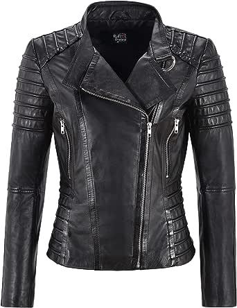 Smart Range Leather Co Ltd. Giacca da Donna in Pelle Nera Classico Stile da Motociclista 100% Vera Pelle Napa 9393