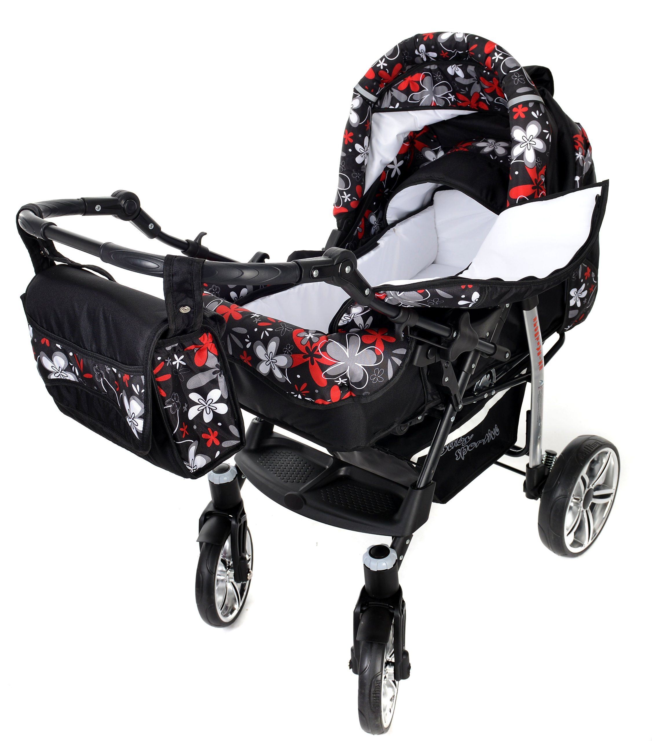 Sportive X2, 3-in-1 Travel System incl. Baby Pram with Swivel Wheels, Car Seat, Pushchair & Accessories (3-in-1 Travel System, Black & Small Flowers) Baby Sportive 3 in 1 Travel System All in One Set - Pram, Car Carrier Seat and Sport Buggy + Accessories: carrier bag, rain protection, mosquito net, changing mat, removable bottle holder and removable tray for your child's bits and pieces Suitable from birth, Easy Quick Folding System; Large storage basket; Turnable handle bar that allows to face or rear the drive direction; Quick release rear wheels for easy cleaning after muddy walks Front lockable 360o swivel wheels for manoeuvrability , Small sized when folded, fits into many small car trunks, Carry-cot with a removable hood, Reflective elements for better visibility 8