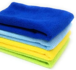 SOBBY Microfibre Cleaning Cloth Set of 4-40 cm x 40 cm - 340 gsm (Assorted)