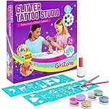 GirlZone Regalos para Niñas -Tatuajes Purpurina -Kit De Tatuajes Temporales con Brillantina para Niñas -Tatuajes Temporales -