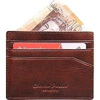 Genuine Leather Credit Card Holder Card Wallet & Gift Box - RFID Blocking, Slimline Design (6 Card Holder, Portobello)