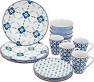 Amazon Brand – Amazon Brand - Solimo 16 Piece Dinnerware Set (Blue Floral)