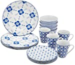 Amazon Brand – Solimo 16 Piece Dinnerware Set (Blue Floral)