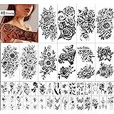 Waterdichte Tijdelijke Tattoo voor Vrouwen en Meisjes 10 Vellen Extra Groter en 30 Vellen Tiny Fake Tattoo Sticker Kits voor