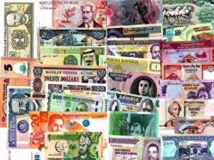 GOLD MINT Over 50 Different Countries Foreign Currency World Banknotes Legal Money with Polymer Notes